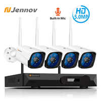 Jennov 4CH 5MP Audio Video Surveillance Wireless NVR Kit Sicherheit Kamera System CCTV Set H.265 WiFi HD Outdoor Ip-kamera IP66