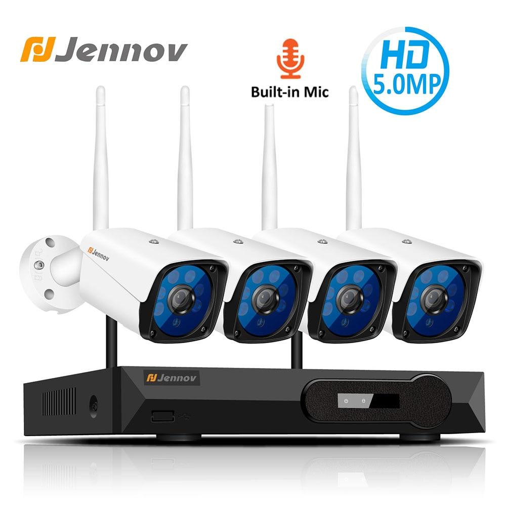 Jennov 4CH 5MP Audio Vidéo Sans Fil de Surveillance NVR Kit de Système De Caméra De Sécurité CCTV Ensemble H.265 WiFi HD Caméra IP Extérieure IP66