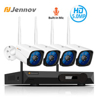 Jennov 4CH 5MP Audio Video Surveillance Wireless NVR Kit Security Camera System CCTV Set H.265 WiFi HD Outdoor IP Camera IP66