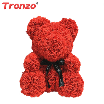 Tronzo 25cm Soap Foam Teddy Bear Rose Flower Doll Decoration Bear of Roses Artificial Valentines Day Gift for Girls Dropship Uncategorized Decoration Stuffed & Plush Toys Toys