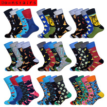 Downstairs Socks for Men 9 Selects Korean Style Hip Hop Gifts Novelty Cotton Sock 4Pairs/Lot Popsocket