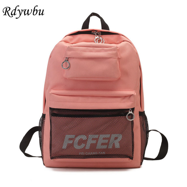 3fd539b192c9 Rdywbu 2PCS Mesh Pocket Backpack Purse Set New Girls Big Capacity School  Bag Letters Travel Bag