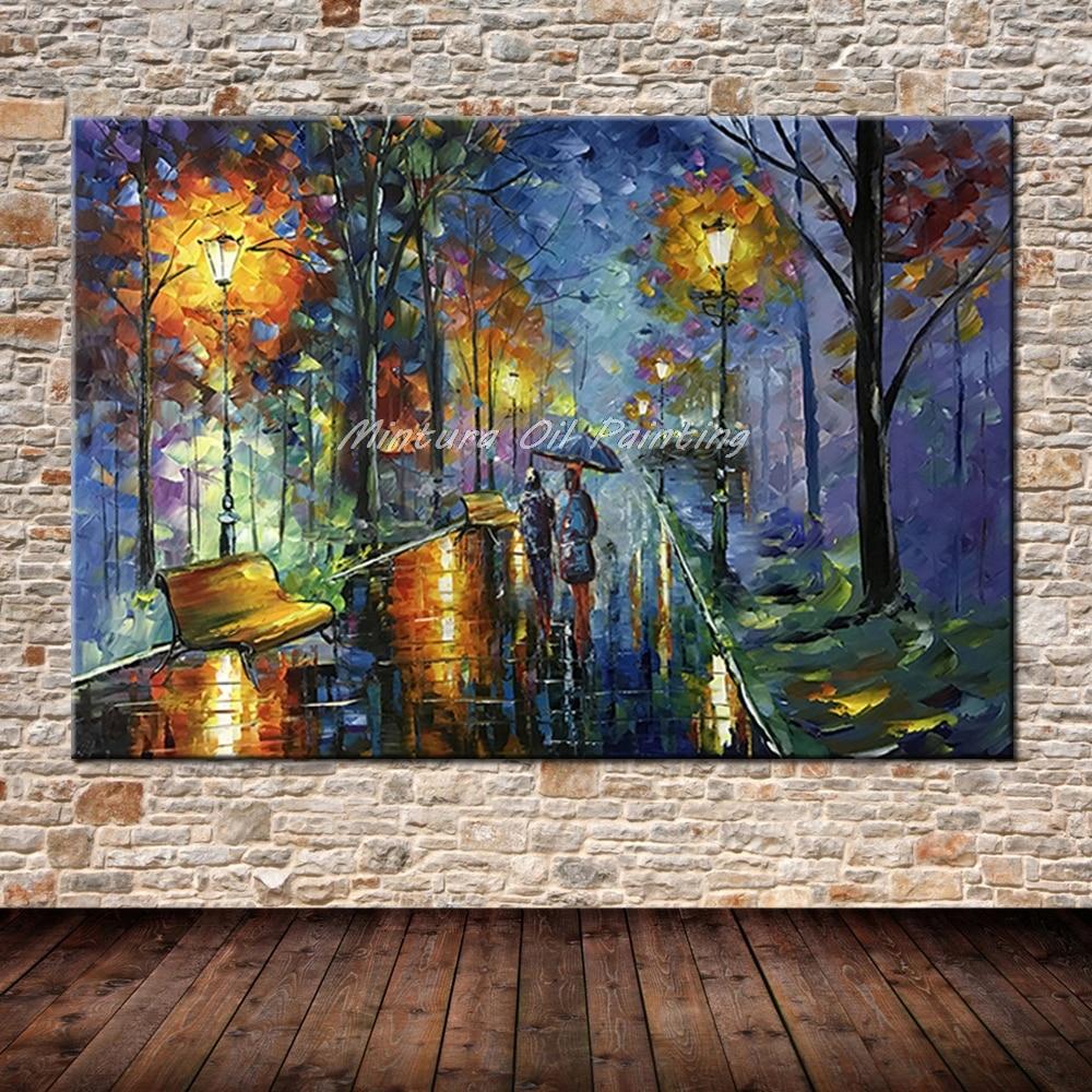 Большой расписанный вручную любовник дождь уличное дерево лампа пейзаж картина маслом на холсте настенные художественные настенные картины для гостиной домашний декор - Цвет: HY142200