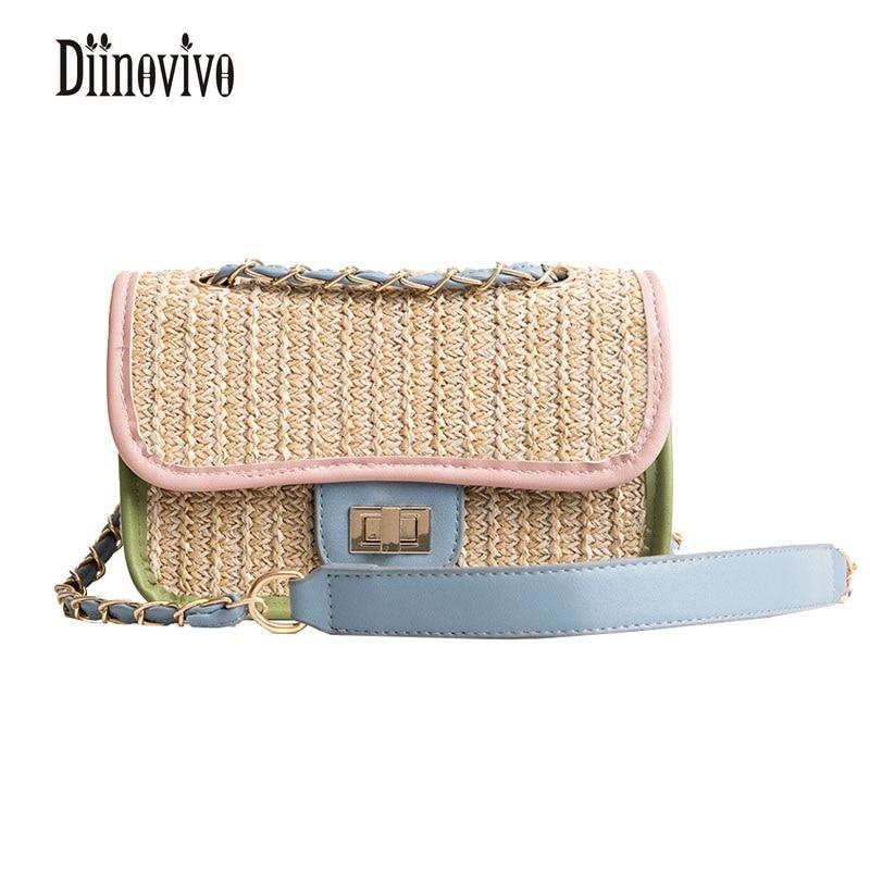 DIINOVIVO 2018 Новая мода Вязание клапаном летние цепи Для женщин пляжные сумки Лидер продаж сумка Повседневное одноцветное сумка DNV0359