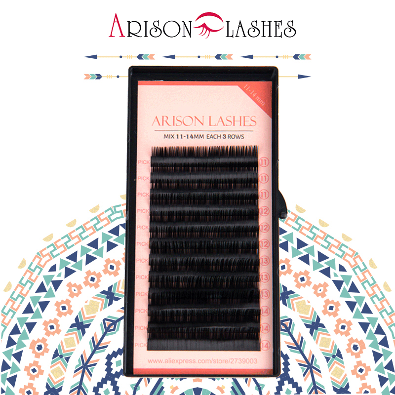 Arison lash grossist Högkvalitativ BCDJ Eyelash Extensions Mjuk Svart Fake False Lash 11-14mm Makeup Tool Freeshipping