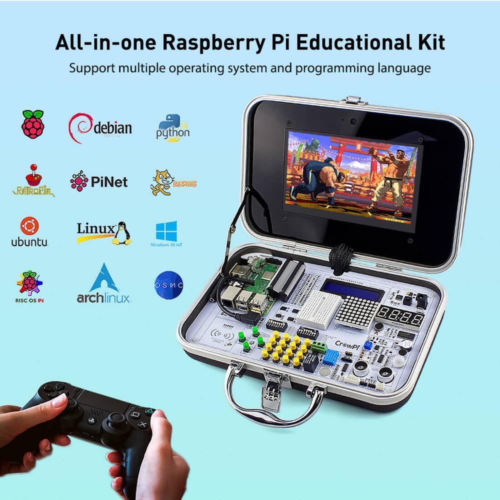 Elecrow crowpi kit de aprendizagem educacional 7 hd hd hd touchscreen display lcd compacto 7 polegada raspberry pi 4 programável display led