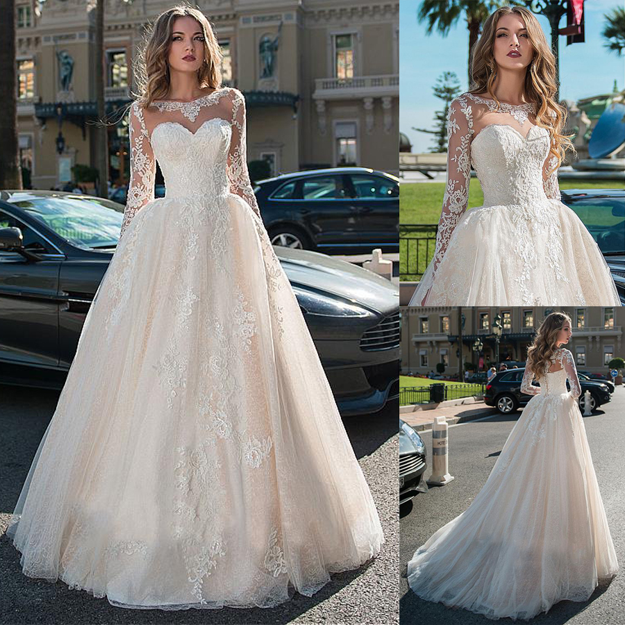 Attractive Tulle & Lace Bateau Neckline Bridal Gown Long Sleeves Wedding Dresses With Lace Appliques & Beadings