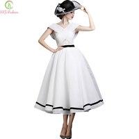 Vestidos новая мода банкетный элегантная дама Белый вечернее платье ретро дворец трапециевидной формы Чай длина партия платье нестандартного