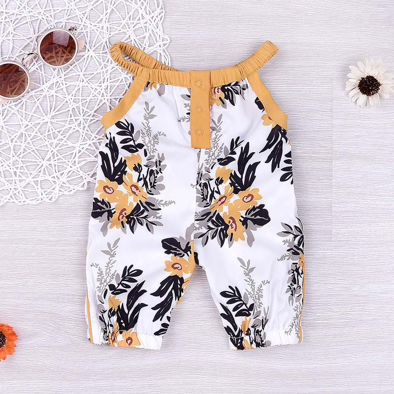Summer Baby Girls Strap Rompers Floral Printed Kids Jumpsuits Piece Pants Clothing AN88