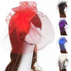 Для женщин чародей вуаль аксессуары для волос перо цветок шарик коктейль заколка для волос Элегантный Винтаж причудливые волосы полосы