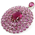 Long Big Size  Pink Tourmaline Created SheCrown Engagement Party   Silver Pendant 55x42mm