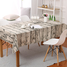 European Stlye Table Cloth Popular Linen Rectangular Vintage Wooden Grain Dustproof Hotel Restaurant Cover 1pc