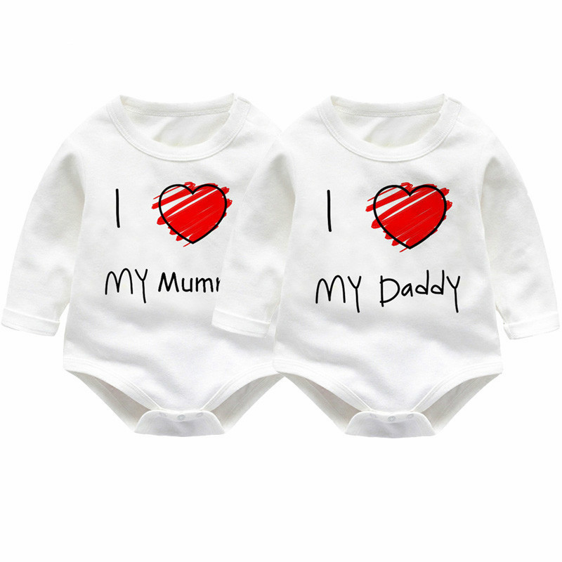 Newborn Kids Baby Rompers I love Daddy Jumpsuit Boys Girls Romper Long Sleeve Underwear Cotton Baby Boy Clothing Summer Outfits cotton cute red lips print newborn infant baby boys clothing spring long sleeve romper jumpsuit baby rompers clothes outfits set