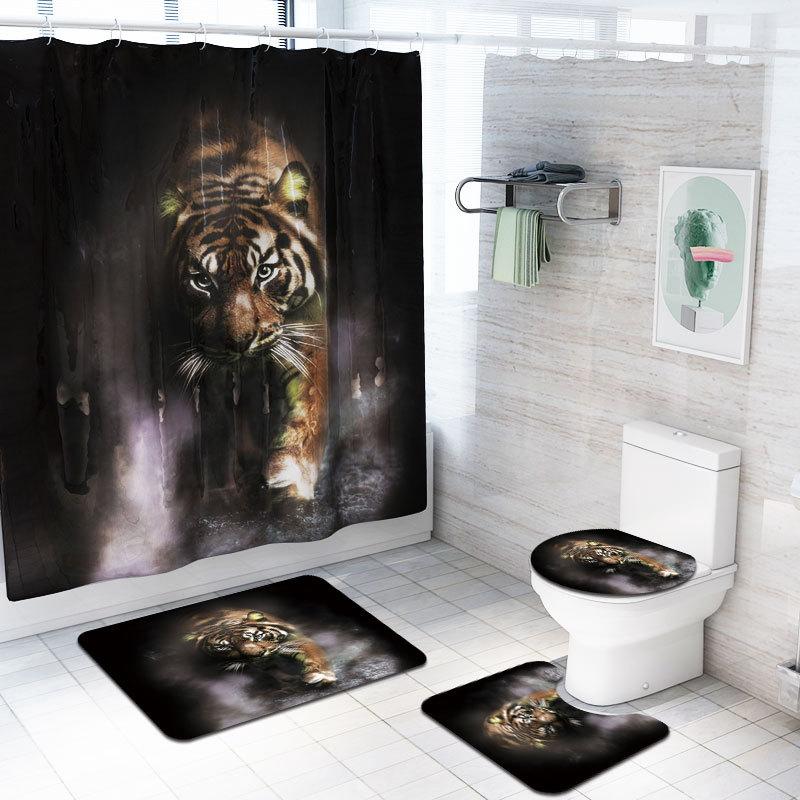 4 Pcs/Set Bathroom Accessories Animals Wolf, Tiger, Peacock, Lion Shower Curtain Bath Rug Set Toilet Cover Bath Mat Set Curtains