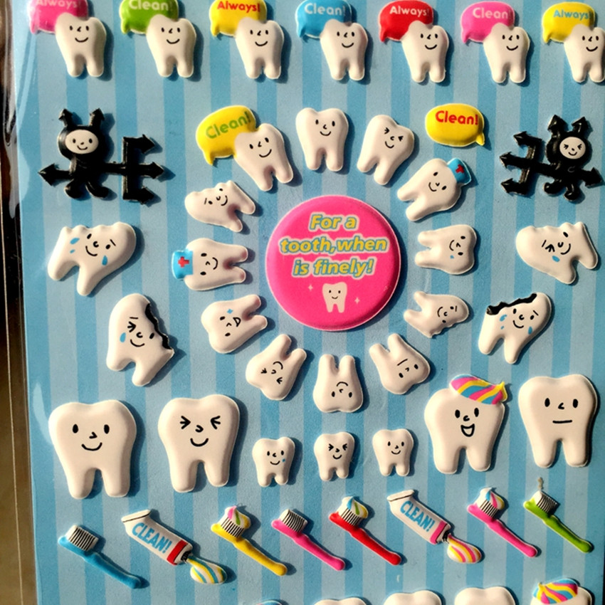 New High Quality Cute Molar Shaped Cartoon Teeth Losing Tooth Fairy Puffy Plastic Sticker For Dentist Dental Gift Kids Scrapbook