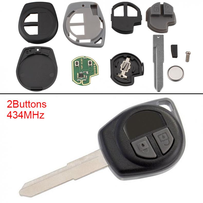 2 Buttons Keyless Key Shell Car Remote Key Fob With Id46 Chip With