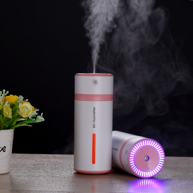 230ML 7 Colors Light Cup Design Ultrasonic Air Humidifiers M1 Mini Air Purifier Car USB Humidifiers For Household Office Bedroom 220v 4l air purifier humidifiers touch control hot fog sterilization air humidifiers h 450 for home office 450ml h efficiency