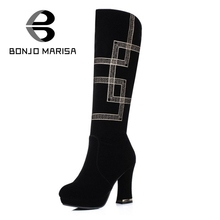 BONJOMARISA 2016 Ethnic Style Embroidery Platform Knee High Boots Sexy High Heels Party Shoes Winter Dancing Boots Woman