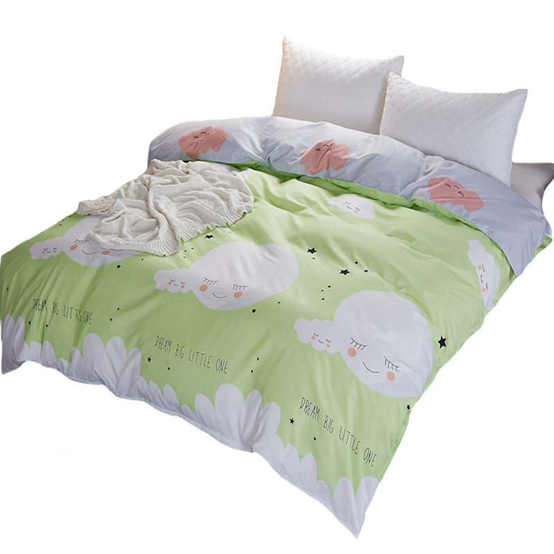 Home Textile White Clouds on Green Duvet Cover 1pcs Quilt Cover for Adults/kids 150x200cm/180x220cm/200x230cm Size Free Shipping
