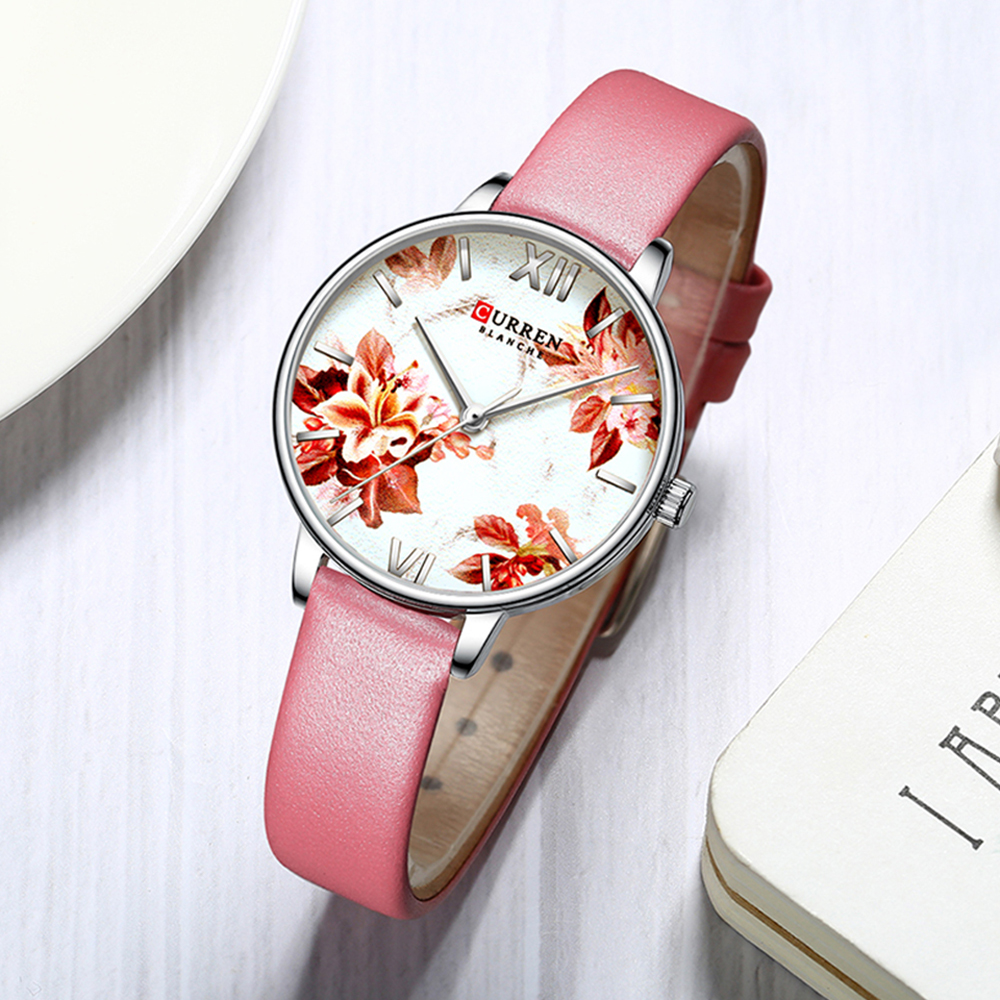 CURREN Unique Watches For Women Pink Elegant Woman Watch 2019 Brand Luxury Leather Wrist Small Dial Women's Wrist Wathes Flower(China)