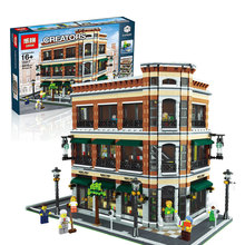 LEPIN 15017 4616Pcs Creator Starbucks Bookstore Cafe Model Building Kits Minifigure Blocks Bricks Compatible Toys Gift