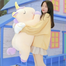 Giant 80/100cm Unicorn Plush Toy Soft Stuffed Cartoon Unicorn With Wings Dolls Animal Horse Toy High Quality Toys for Children fancytrader 39 100cm soft giant plush stuffed jumbo dog toy 3 colors available nice gift for babies free shipping ft50236