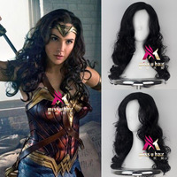 Halloween Wonder Woman cosplay Wig Women long black wavy hair wig Diana Prince Cosplay hair Wig Gal Gadot Role Play costumes