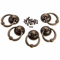 5 Pcs 37x27 milímetros Antique Bronze Puxadores de Móveis para a Caixa De Madeira Da Gaveta Da Cozinha Armário Porta do Armário Punho de Bronze anel de Puxar Alças