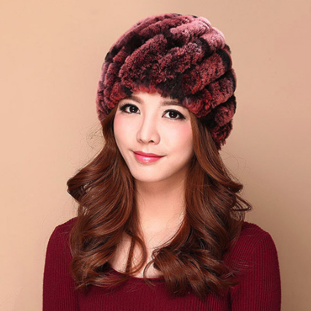Luxury Autumn Winter Women Genuine Real Knitted Rex Rabbit Fur Hats Handmade Lady Warm Caps Female Real Fur Beanies Headgear