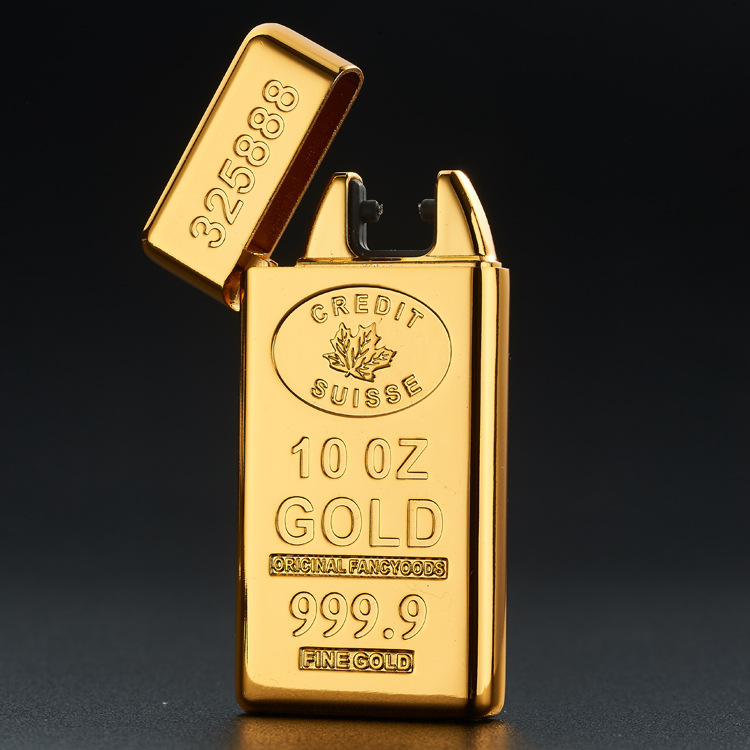 20167 24K gold plated gold double charging arc lighter USB charging lighter Tyrant gold bars free