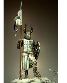 holding the flag of the Teutonic warrior 54mm Resin Models WWII