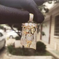 D&Z Luxury Bling Bling Full Paving CZ Jesus Head Pendant Necklace For Men Hip Hop Jewelry Accessories