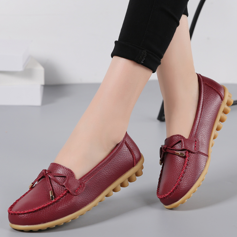 Autumn Shallow Casual Women Flats Slip On Ladies Moccasins Loafers Women Shoes Comfort Genuine Leather Big Size 11.5 Shoes KVT22 2018 autumn new vintage casual handmade shoes woman flats genuine leather fashion women shoes slip on women s loafers moccasins