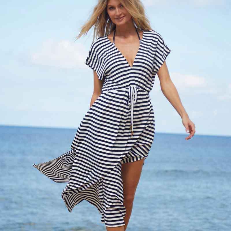 Saida De Bath For Beach Dress Cover Ups Kaftan Tunic Robe Cardigan Summer Long 2018 New Striped Skirt Polyester Sierra Surfer
