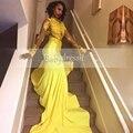 Venda quente africano amarelo prom dress 2017 manga comprida ver através Sheer Satin Lace Top Menina Longo Tribunal Trem Sereia Vestidos de Baile