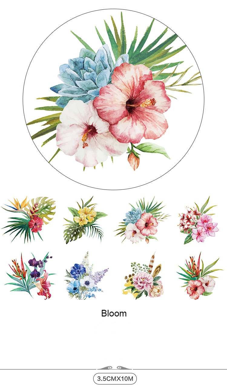 Bloom flower diy scrapbooking tools japanese paper tape washi tape bloom flower diy scrapbooking tools japanese paper tape washi tape craft for christmas cinta adhesiva decorativa in office adhesive tape from office jeuxipadfo Choice Image