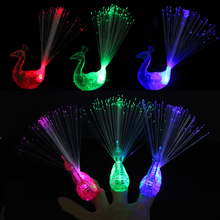Colorful Light-up Toys Luminance Glow Flash luminous Flashing Peacock LED Finger Light Toys For Kids Party Decoration Gifts(China)