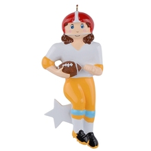 Boy rugby or american football personalized polyresin glossy Christmas ornament for home decoration 2015