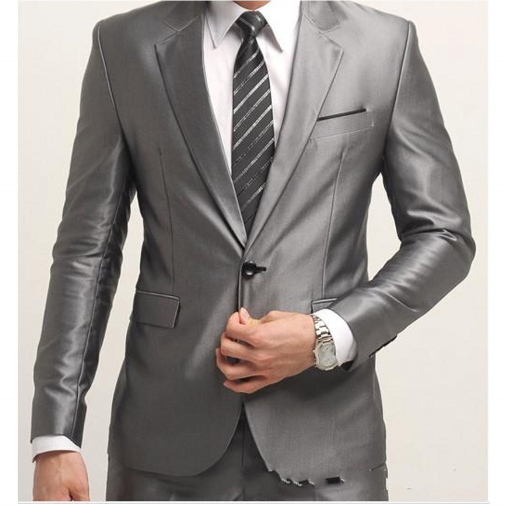 Popular Mens 2 Piece Silver Suits-Buy Cheap Mens 2 Piece Silver