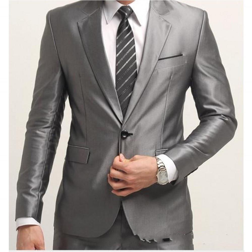 Popular Mens 2 Piece Silver Suits-Buy Cheap Mens 2 Piece Silver