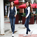 2016 New Fashion Denim Casual Suspender Pants Jeans Jumpsuits Removable lapel vest With Pockets Buttons Slim jeans
