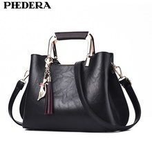 PHEDERA Elegant Fashion Women Bag Totes Tassel Black Female Handbags Burgundy Ladies Bags Sweet Messenger for 2018 New