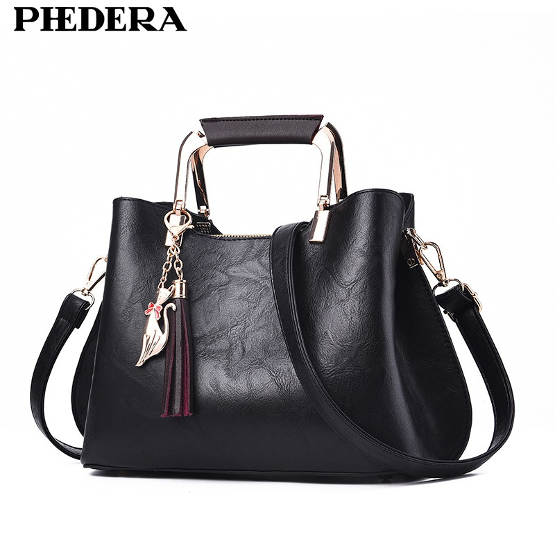 PHEDERA Elegant Fashion Women Bag Totes Tassel Black Female Handbags Burgundy