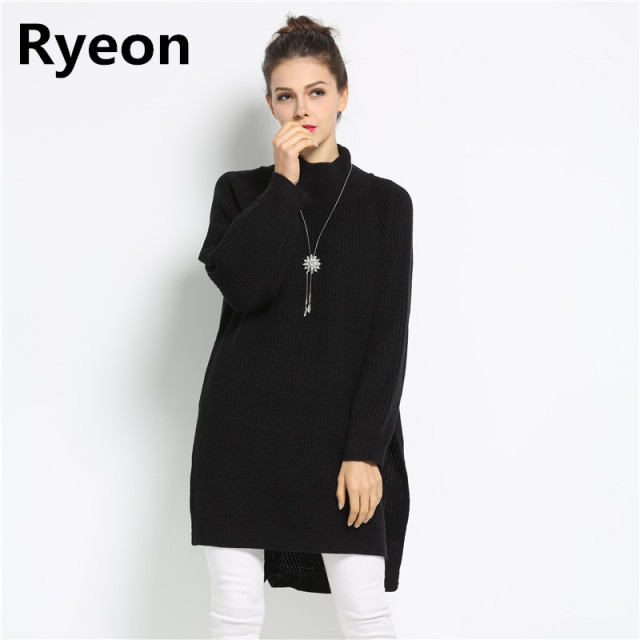 05df025ad791 Ryeon Spring Winter Women Oversized Sweater Dress Turtleneck Long Sleeve Sweater  Dress Maternity Ladies Pullovers Sweaters