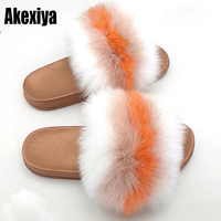 Women Summer Real Fox Fur Slides Women Non slip Fluffy Fur Slippers Women Furry Slippers Ladies Cute Plush Fox Hair Slippers Hot
