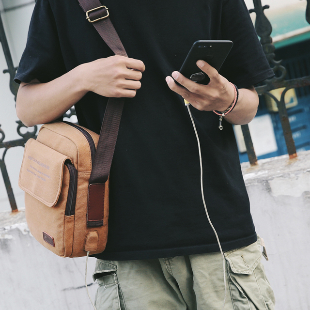 Man Urban Daily Carry Bag High Quality Men Canvas Shoulder Bag Casual Travel Men's Crossbody Bag Male Messenger Bags 2