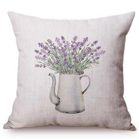 Colorful Nordic Floral Vase Glass Jar Home Sofa Small Fresh Decorative Cushion Cover Chic Purple Flower Cotton Linen Pillow Case M109-5