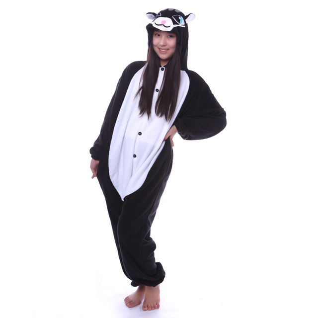 e1fb2d9f3d9a Cartoon Black Cat Onesies Unisex Sleepsuit Sleepwear Adult Pajamas ...