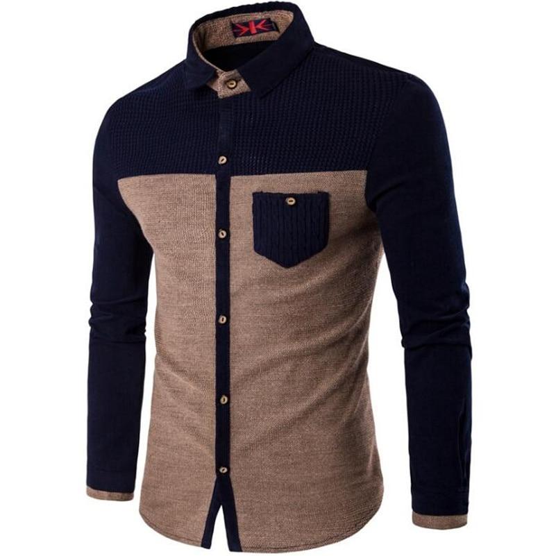 Örme Erkek Gömlek Uzun Kollu Pamuk Polyester Parchwork Gömlek - Erkek Giyim - Fotoğraf 3