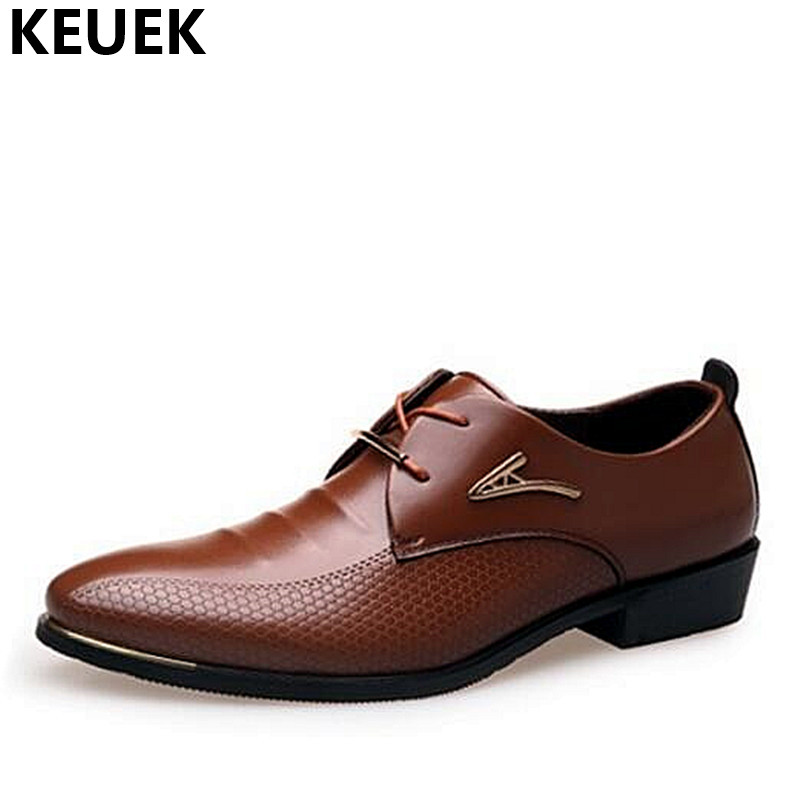 Big Size 38-46 Men Leather Shoes Lace up Pointed Toe Dress shoes Soft Breathable Wedding Business Shoes Oxfords Flats Black 01B new brand designer formal men dress shoes lace up business party oxfords shoes for men pointed toe brogues men s flats plus size